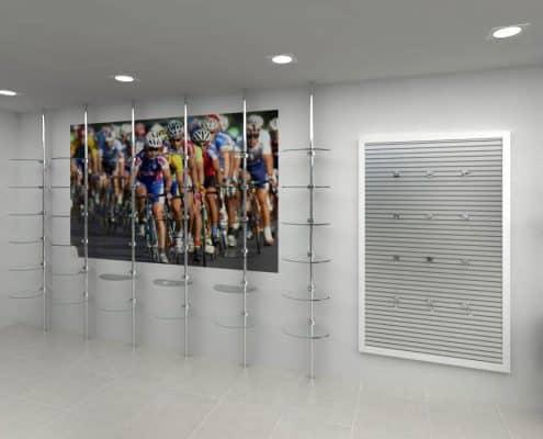 Exhibidor de ropa deportiva para tienda de deportes